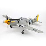 Dynam P-51D Mustang V2 Prata / Vermelho 1200mm Envergadura de 1,2 m EDF EPO Avião RC PNP com flaps