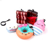 Squishy Bun Food Cute Phone Bag Hanging Decor Keyring Beef Milk Box Chocolate Slow Rising 7cm Gift Collection
