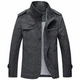 Mens Stand Collar Epaulet Średniej długości kurtka firmy