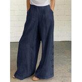 Botão feminino de algodão cor sólida bolso lateral cintura elástica perna larga Calças