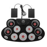 Conjunto de bateria eletrônica portátil Roll Up Drum Kit 9 Silicone Almofadas USB alimentadas com pedal de baquetas Cabo USB