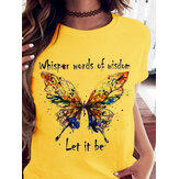 Colorful Butterfly Print Round Neck Tee Loose Casual T-shirts For Women