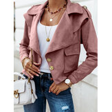 Women Solid Faux Suede Button Up Lapel Casual Long Sleeve Jacket With Pocket