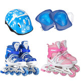 Children's Adjustable Skates Full Set Single Flash Ice Skate Shoes for Boys and Girls Inline Skates for Beginners
