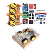 4WD DIY Smart Chassis Car Kit with UNO-R3 + Ultrasonic Module+Motor drive board