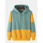 Mens Patchwork Corduroy Long Sleeve Simple Drawstring Hoodies