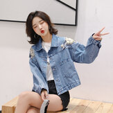 Denim jacket female loose student wild embroidery flower