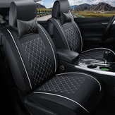 Double PU Leather Car Front Seat Cover with Pillow Universal for Five Seats Car Black and White