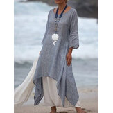 Women 3/4 Sleeve High Low Hem Linen Cotton Dress
