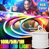 220V LED Faixa 8 * 16mm RGB Neon Flex Corda Luz 1/5 / 10M à prova d'água LED Fita 5050 LED Tubo flexível de néon IP65 Lâmpada de corda multicolor para casa Faça você mesmo Decoração de Natal
