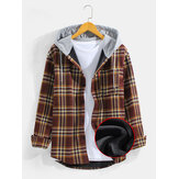Mens Vintage Plaid Chest Pocket Warm Plush Lined Thick Long Sleeve Hooded Shirts