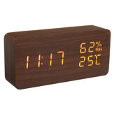 Modern Wooden Wood Digital Thermometer USB Charger LED Desk Alarm Wireless Clock