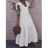 Women Solid Color Ruffles Sleeve Bohemian Casual U-Neck Layered Tiered Dress