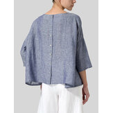 Dames Losse Pure Color Button Down Back hoge lage zoom blouse