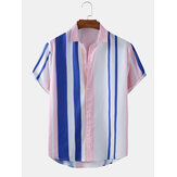 Mens Colorful Striped Print Light Short Sleeve Summer Casual Shirts
