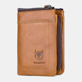 Bullcaptain Men Piel Genuina Moneda con cremallera funcional casual Bolsa Monedero