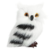 5PCS Owl White Black Furry Christmas Ornament Decoration Toys Adornment Simulation