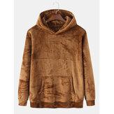 Heren fluwelen bruine hoodies met lange mouwen en zak