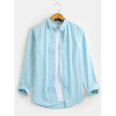 Mens 100% Cotton Solid Lapel Collar Basic Casual Long Sleeve Shirts