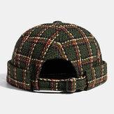 Collrown Unisex afslappet britisk stil Plaids Mønster Brimless Beanie Udlejer Hat Kraniet Hat