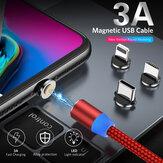 USLION 3A USB'den USB-C / Mikro USB Kablosu Manyetik Hızlı Şarj Veri İletim Kablosu Hattı 1m / 2m uzunluğunda Samsung Galaxy Note 20 iPad Pro 2020 MacBook Air 2020 Mi 10 Huawei P40 OnePlus 8 OnePlus 8 Pro