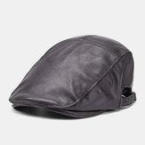 Männer Schaffell aus echtem Leder Warm halten Lässig Universal Fold Solid Forward Hut Beret Hut