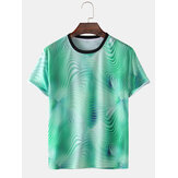 Mens 3D Gradient Printed Activewear Short Sleeve T-Shirts