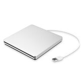 Portable USB 3.0 Silver External DVD-RW Max.24X High-speed Data Transmission for Win XP Win 7 Win 8 Win 10 Mac