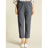 S-5XL Femme Pantalon de Loisir Couleur Unie en Coton