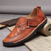 Men Genuine Leather Hand Stitching Soft Casual Shoes