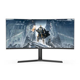BlitzWolf® BW-GM3 34-Inch Curved Gaming Monitor 165Hz WQHD 3440 x 1440 Resolution 300 cd/㎡ 1500R Curvature 21:9 Bring-Fish-Screen 120% sRGB Color Home Office Gaming Monitor