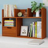Masaüstü Kitap Standı 2 Katlı Düzenleyici Ev Ofis için Çekmeceli Depolama Raf Raf Kitaplık