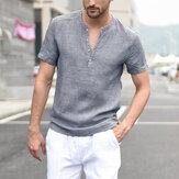 Mens Summer Casual Stripe Short Sleeve Cotton Tops T Shirts