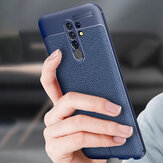 Bakeey for Redmi 9 Case Business Litchi Texture Shockproof PU Leather with Lens Protector Protective Case Non-original