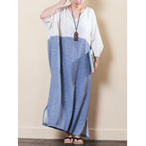 Vintage Women V-neck Loose Baggy Maxi Dress
