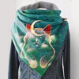 Gato e lua fofa com cochilo feminino Padrão Grosso Soft Proteção para pescoço lenço quente