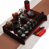 ChińskiKungFuZestawdorobienia herbaty Zestaw do herbaty Porcelanowy czajnik Puchar do herbaty Elegancki czajnik do drewna Taca
