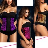 Leopard Bone Latex Rubber Waist Trainer Body Shaping Shaper Cincher Underbust Corset