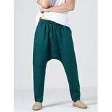 Pantalon décontracté à cordon de serrage pour homme 100% coton de couleur unie