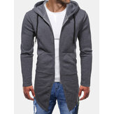 Mens Solid Color Curved Split Hem Zipper Mid-Length Casual Jacket