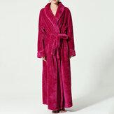 Plus tamanho manga longa roupão de flanela vestido de noite