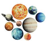 9 unidades / conjunto adesivos de planetas do sistema solar adesivos de parede adesivos de parede decalque de parede sala de estar infantil decoração de berçário de bebê
