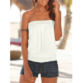 Summer White Solid Color Strapless Sleeveless Casual Tube Tank Top