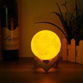 10 cm 3D Mágico Dois Tom Moon Table Lamp USB de Carregamento Luna LED Luz Da Noite Toque Sensor Presente