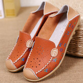 Women Leisure Shoes Breathable Hollow Out Flats Soft Sole Loafers Flower Printing Loafers
