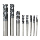 Drillpro 8pcs 2-12mm 4 Flutes Carbide End Mill Set Tungsten Steel Milling Cutter CNC Tool