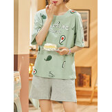 Plus Size Women Cute Cartoon Animal Letter Print Short Sleeve Pajama Sets