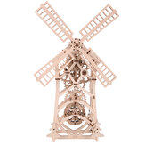3D Wooden Windmill Puzzle DIY Mechanical Transmission Model Assembly Toys Creative Gift