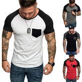 メンズカジュアルプリントTシャツスリムフィットTシャツ半袖スポーツクルーネックトップス男性服