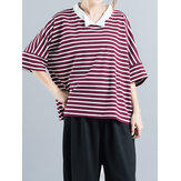 Loose Casual Women Striped Patchwork T-shirt